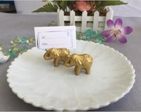Wholesale Wedding Place Decoration - Lucky Resin Gold Elephant Place Card Holders Business Card Holder Golden Wedding Decoration Favors For Guest