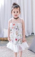 Wholesale Tank Dress For Girls Wholesale - Girls tank top dresses gauze lace embroidery backless princess dress for children splicing tulle falbala dress summer kids clothes T2498