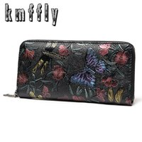 Wholesale Synthetic Female Chinese - womens wallets flower purses chinese women Female Purse Butterfly Fashion Wallet Leather Zipper Long Ladies Clutch Coin Purse