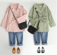 Wholesale Pink Leisure Coat - Baby girls outwear fashion Kids lapel Bows Belt coat child double-breasted Tench coat girls leisure coats 2017 new Autumn Kids clothes G1029