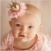 Wholesale Three Band Pearl Headband - 2017 New Baby Three-dimensional Crown Hair Band Toddler Girls Pearl Hair Accessories Kids Lace Gauze Headdress Infant Girl Chiffon Headband