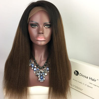 Wholesale Long Heavy Hair - Virgin Brazilian Human Hair Lace Front Wig Heavy Yaki Straight 1BT#30 Ombre Kinky Straight Full Lace Wig