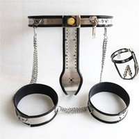 Wholesale Vagina Plug For Chastity Belt - New Bondage Female Chastity Devices Thigh Ring Anal Plug vagina Plug Stainless Steel Lockable & Adjustable sex Toys for Women G7-5-29