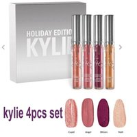 Wholesale Full Size Metal - In stock Kylie Jenner holiday collection lip kit 4pcs set Metal Matte lipstick kylie holiday lip gloss free shipping