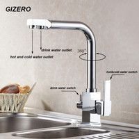 Wholesale Faucet Mount Filter - Wholesale- Hot Sale High Quality US Standard Drink Water Faucet Kitchen Swivel Hot and Cold Filter Water Faucet Luxury Chrome Finshed ZR646