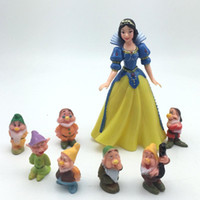 Wholesale Snow White Cake - Snow white and the Seven Dwarfs Set Novelty Party Decoration Cartoon dolls Cake dolls Kid toys car ornaments free shipping