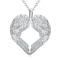 Wholesale Long Chain Heart Necklaces - Fashion Charms Heart Angel Wings Pendants Necklaces Women Silver Filled Jewelry Long 18inches Chains Chokers Necklace Womens