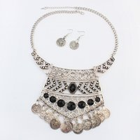 Wholesale Europe Style Big Necklace - Fine Jewelry sets New trends in Europe and America all-match folk style hollow big Coin Necklace Earrings set jewelry wholesale