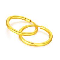 Wholesale Real 24k Gold Earrings - New 999 Real Solid 999 24k Yellow Gold Earrings   Little Circle Hoop Earrings   2.1g
