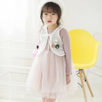 Wholesale Vest Candy Cotton Summer - Everweekend Girls Tutu Long Sleeve Dress with Lace Vests 2pcs Sets Candy Pink and Gray Color Children Fashion Autumn Dress