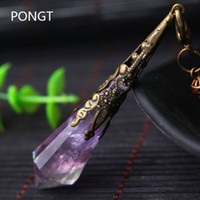 Wholesale- New Natural amethyst Pendulums for dowsing healing crystals Chakra pendulum charms necklace pendant Women Fashion jewelry