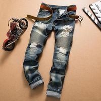Wholesale Wholesale White Men Jeans - DHL Free Hole Distrress Jeans famous Brand Men's Long Straight Fit Jeans Casual Denim washed Denim Jeans trousers Large Size 28~42