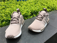 Wholesale Green Shoes Men Fashion - 2017 Original NMD Runner R1 Mesh Salmon Talc Cream Olive Triple Black Men Women Running Shoes Sneakers Originals Fashion NMD Runner Primekni