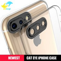 Wholesale Plus For Cats - New tpu soft phone case 0.3mm 3D cat eyes protection camera shell for iPhone7 iPhone 7 6s 6 plus mate9 protector cover case