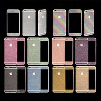 Wholesale Iphone Glitter Side Sticker - Glitter Powder Full Body Sticker For iPhone 7 6 Plus 5 5S Samsung S7 S6 Edge NOTE 5 J5 A7 A8 Front+ Back+ Sides Bling Skin Protector