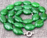 Wholesale Oval Natural Gemstone Beads - Handmade 13x18mm Natural Green Jade GEMSTONE Oval Beads Necklace 18""