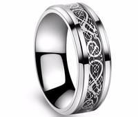 weißgold valentinstag ring großhandel-Valentine's Day Vintage Wolfram Stahl weiß Goldener Ring für Herren Lord Hochzeit Titan Ringe Band neue Punk Ring Schmuck