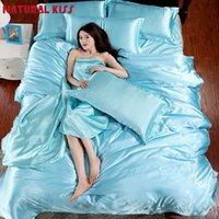 Wholesale Silk Quilt Comforter Black - Solid color Silk Quilt Black Satin Sheets Bed Linen Cotton Solid Satin Duvet Cover Set Queen Size Bedsheet 4pcs of Bedding Sets