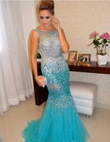 Wholesale Evening Dresses Heavy Beaded - 2017 Luxury Heavy Crystal Beading South African Prom Dress Celeberity Mermaid Tulle Arabic Evening Party Gown Custom Made Plus Size