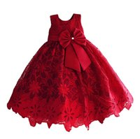 Wholesale Sweet Bowknot Dress - Girls Christmas Dress New Lace Flower Big Bowknot Children Party Dress Sweet Kids Sundress Pageant Dress for Girl Ball Gown C2224