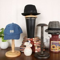 Wholesale Wooden Ships Hat - Vintage Style Wooden Hat Display Rack Stand Wood Hat Hanger Cap Display Exhibition Stand Holder Free Shipping ZA4191