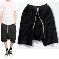 Wholesale Shorts Crotch - Wholesale-Highstreet Summer Mens Drop Crotch Shorts Baggy Loose Drawstring Hip Hop Black Urban Clothes Joggers Harem Shorts For Male