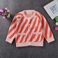 Wholesale Hot Winter Cardigan Children - Everweekend Girls Stripes Knitted Cardigan Sweater Jackets Candy Color Ins Hot Sell Cute Children Spring Fall Outwears