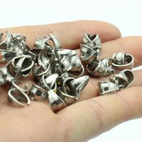Wholesale Clip Bails - Factory Wholesale 200pcs Silver Tone Stainless Steel High Quality Connector Pendant Hook printing Pinch Bail Clip Clasp Jewelry Finding DIY