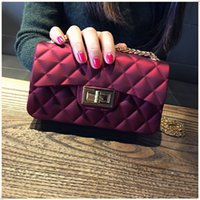 Wholesale Diamond Girls - Hot!popular jelly bag women flap handbag PVC diamond lattice waterproof beach small 22cm bag candy color purse check plaid special girl new