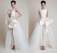 Wholesale New Zuhair Murad Evening Dresses - 2017 New Zuhair Murad Dresses Party Evening Crew Peplum Ruffles Tulle Formal Evening Gowns Zipper Back Pageant Prom Dress Sleeveless