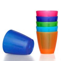 plastik tabakalar toptan satış-Çocuk Fırçalama Fincan Renk Plastik Yuvarlak Kupa Tek Katmanlı Basit Şeffaf Gargara Tumblers Çevre Dostu Malzeme 250 ML Sıcak Satış 1sj I1