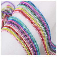 Wholesale Necklace Chain Distribution - metal bead necklaces hot sale fashion Floating box locket phase distribution chain Colored beads 12colors to choose freely charm