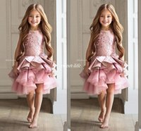 Wholesale Beauty Pageant Dresses Ball Gown - Luxury Lace Pink Lace Flower Girl Dresses 2017 Knee Length Appliques Ruffles Tiered Kids Party Beauty Pageant Ball Gowns For Girls Vestidos