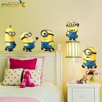 Wholesale Despicable 5pcs - despicable me 2 minions wall stickers for kids rooms zooyoo1404 decorative wall art removable pvc cartoon wall decal
