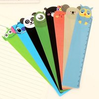 Wholesale Rulers 15cm - 30pcs lot 15cm Cute Cartoon Plastic Ruler Measuring Straight Ruler Gift Stationery Kids Prize Novelty School Material Korean Free Shipping