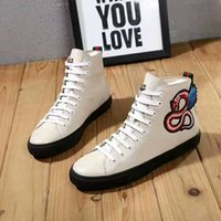 Wholesale Cowboy Ankle Boots For Men - Luxury Genuine Leather Arena Brand Flats Ankle Boots For Men & Women Famous Designer Casual Shoes Embroidered Wing Snake-print Leisure Sport