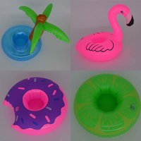 Wholesale Drinking Cups Birthday - Inflatable Mini Coconut Tree Donuts Cola Beverage Cup Holder Drink Pool Float Home Party Decoration Supplies