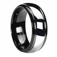 Queenwish Promise Ring 8mm Black Tungsten Carbide Ring Silver Dome Tungsten Mens Wedding Bands Bridal Jewelry Couple Rings For Lovers