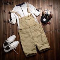 Wholesale Men S Overalls Skinny - Wholesale-Free Shipping 2016 Men's cotton Overalls Mens Denim Bib Overalls Shorts Jumpsuit Mens Jean Shorts Jeans Man