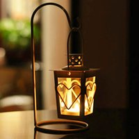 Wholesale Iron Lanterns For Weddings - Candle Holder With Mini Love Candle Holder Hanging Lantern Iron Decor For Home Wedding Yellow Romantic Style Candle Holders