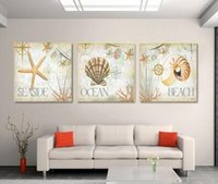 Wholesale Wall Hanging Decoration Piece - Framed High-quality Modern Printed On Canvas 3 piece beach oil painting wall hanging living room decoration pictures