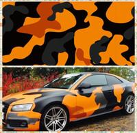 envoltura de coche naranja al por mayor-Calcomanías de camuflaje de camuflaje con gráfico de camuflaje VINYL de camuflaje completo de color naranja grande con camuflaje Camo que cubre papel de aluminio con aire libre tamaño 1.52 x 30 m / rollo