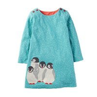 Wholesale Chinese Clothing For Children - Baby Girls Dress Princess Dress Children Clothes 2017 Brand Autumn Animal Applique Kids Dresses for Girls Tunic Jersey