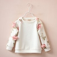Wholesale Turtleneck Jacket Boys - Wholesale- 2016 Spring New female chind flower cotton stereo leisure hoodies baby girls round neck long sleeved turtleneck jacket