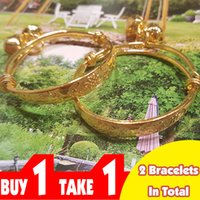 Wholesale Silver Bangles For Children - Chinese Lucky Knots Carving Adjustable Bangle For Kids 18K Gold Plated Ring Bells Charms Child Bracelet Buy One Get One Free 2pcs lot