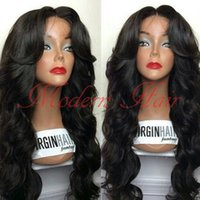 Wholesale top quality lace front wigs - Top Quality 7A Fashion Wavy Style Hair Black Brazilian Wig Body Wave Heat Resistant Synthetic Lace Front Wigs Women Hair None Lace wigs