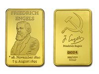 Wholesale Germany Gold Coins - Germany Great Thinker Friedrich Engels 24K Gold Plated Commemorative Coin Token Collection