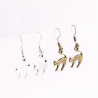 Wholesale antique jewelry earing - 20pcs lot Metal Alloy Zinc Antique Bronze Silver Cat Pendant Charm Drop Earing Diy Jewelry Making C0684