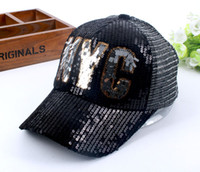 Wholesale Snapback Embroidery Nyc - 2017 Summer Fashion Women Breathable Hat NYC Mesh Snapback Cap Casquette Ladies Travel Sequin Embroidery Letter Baseball Cap Hat