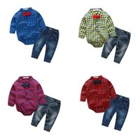 Wholesale Baby Boy Jeans Months - Cotton Boys Baby Gentleman Romper Clothing Sets Plaid Long Sleeve Newborn Rompers Jeans 2Pcs Set Toddler Onesies Boutique Bodysuit Clothes
